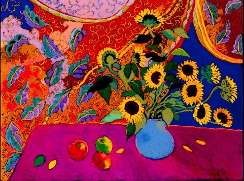 Sunflowers in a blue vase - colourful background