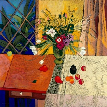 Flower arrangement in a green vase - curtains and blue window in background