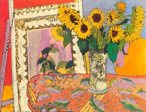 Sunflowers in vase - mirror in background