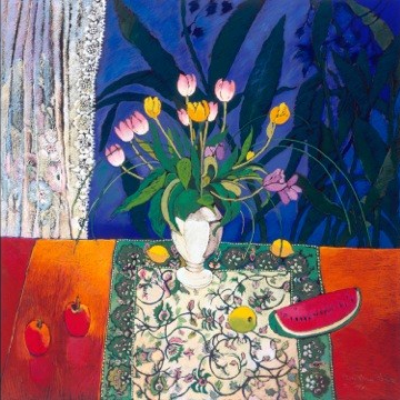 White vase with tulips - watermelon on table
